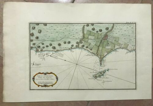 PERU LIMA NICOLAS BELLIN DETAILLED MAP 20TH CENTURY ON PAPER D