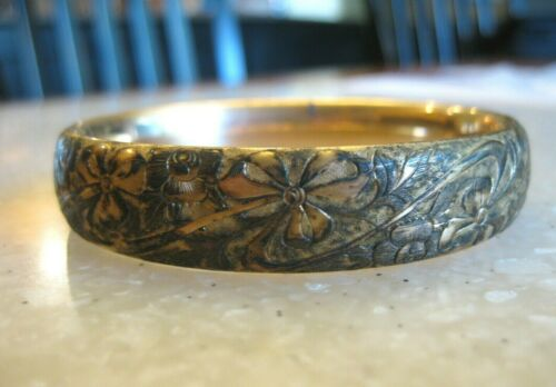 Victorian Hinged Bangle Bracelet Gold Dipped Sterling, Hand Chased Floral Design