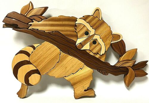 Handcrafted Wood Intarsia Raccoon Wall Hanging Art OOAK