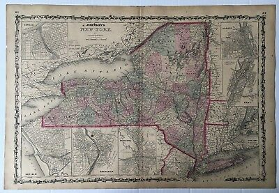 Vintage Original c 1860s Johnson & Browning New York Hand-Colored map w/ insets