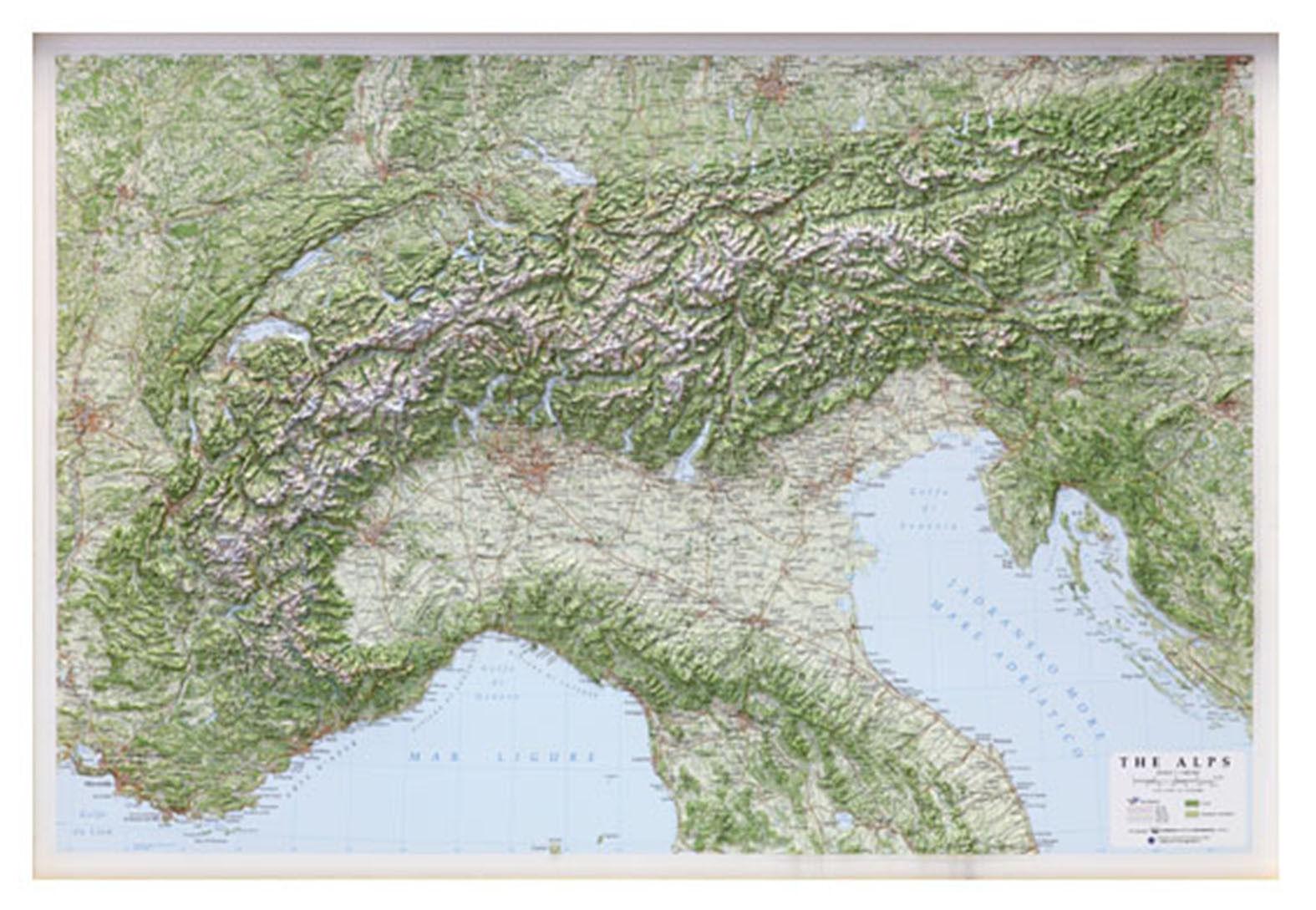 Cartina Olanda Fisica.Le Alpi Carta Geografica Fisica In Rilievo 95x65 Cm Senza Cornice Mappa Ebay