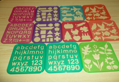 TupperToys 11 Stencil Lot 1987 Alphabet, Shape, Animals, Holiday Tupperware Lot