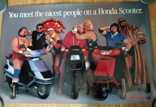VTG 1986 HONDA SCOOTERS ADVERTISEMENT POSTER