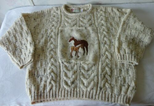 STANDUN Irish Wool Aran Sweater HORSE & FOAL Made Ireland Oatmeal Sz AGE 8-10 YR
