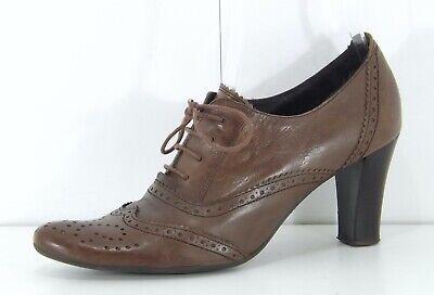 HISPANITAS Brown REAL LEATHER Boho Retro Ladies Lace Up Shoes size UK 6 EUR 39