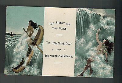 1909 NIAGRA FALLS CANADA POSTCARD COVER TO USA RED MAN'S FACT WHITE MAN'S FANCY