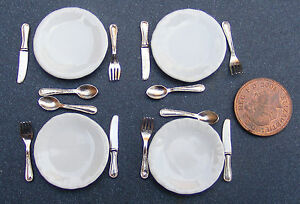 1-12-Escala-Set-De-4-Placas-De-Ceramica-amp-Cubiertos-Casa-de-Munecas-Miniatura-Accesorios