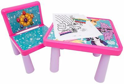 Kids Table And Chair Set My Little Pony Art Desk Activity Colour Girls Xmas Gift