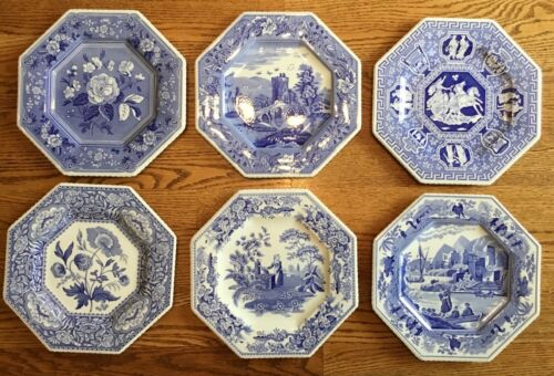Variety Set of 6 Spode Blue Room SUTHERLAND COLLECTION Octagonal Plates