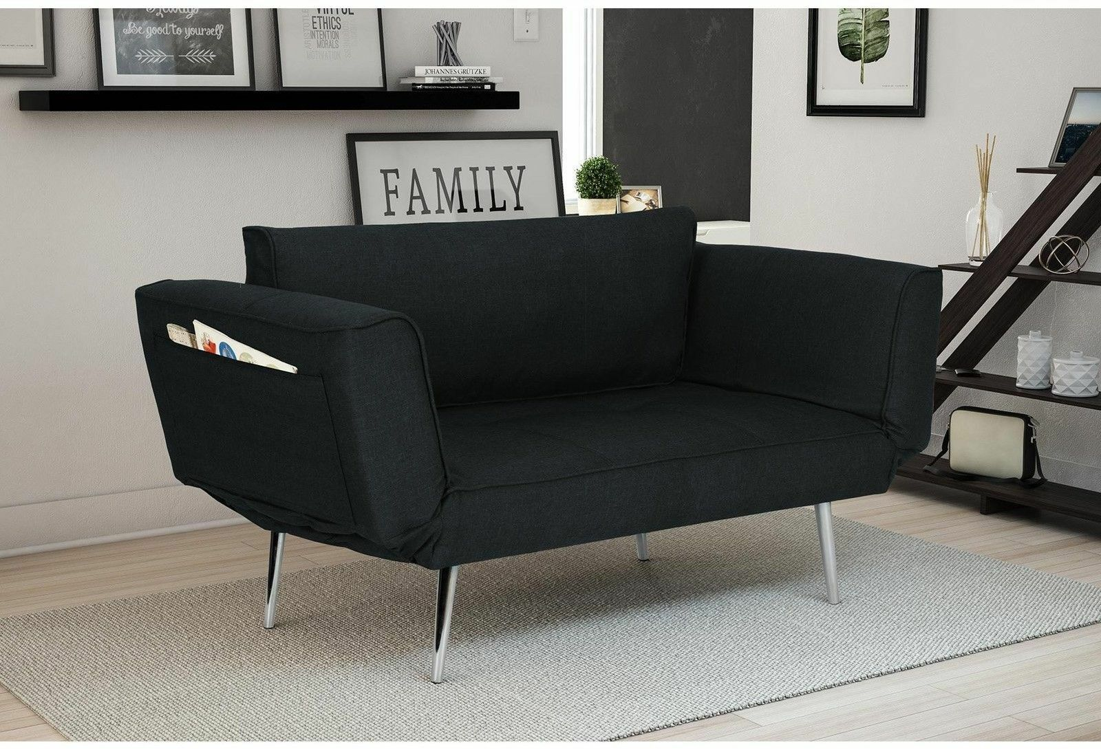 Details about Futon Sofa Bed Sleeper Convertible Loveseat Couch Chair Black  Home Office Guest