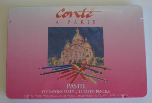 Vintage Tin Box 12 Conte a Paris Pastel Pencils France NIB