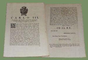 Decreto di Carlo III di Spagna Napoli 1759 Comanda sudditi vendita propri frutti - Italia - L'oggetto può essere restituito - Italia