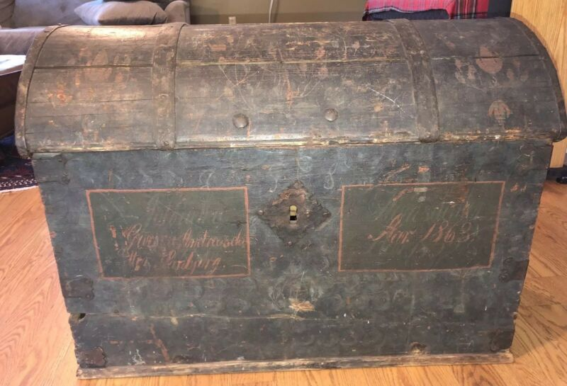 1863 19th C Painted Norwegian Flowers Names Chest Trunk Hand Wrought Hardware