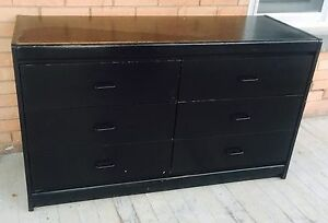 Six drawer black dresser