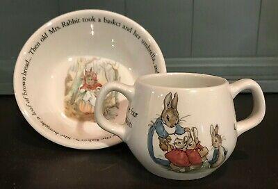 Wedgwood Peter Rabbit Child Bowl & Double-Handle Mug Set (Beatrix Potter)