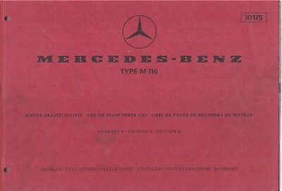 MERCEDES BENZ M116 3.5 V8 PETROL ENGINE 1970 FACTORY ILLUSTRATED PARTS CATALOGUE