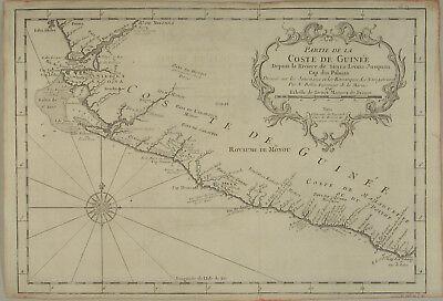 AFRIKA Küste von GUINEA Original BELLIN Kupferstich Landkarte dat. 1746 Windrose