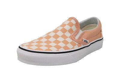VANS Slip On Checker Bleached Peach White Sneakers Fashion Adult Men - Checker Slip
