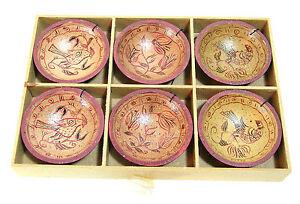 Primitive-Wood-Miniature-Painted-Bowl-Ornaments-Christmas-Ornament-Set-NIB
