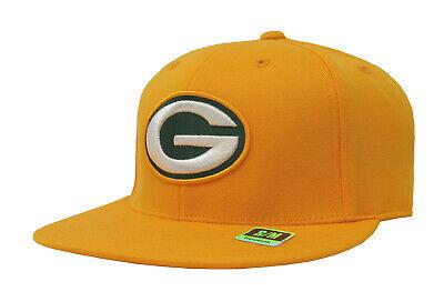 REEBOK Green Bay Packers Gold Yellow Flat Visor  Flex Stretch Fit Cap Men -