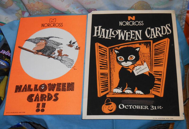 vintage original NORCROSS greeting cards HALLOWEEN ADVERTISING SIGNS cat & witch