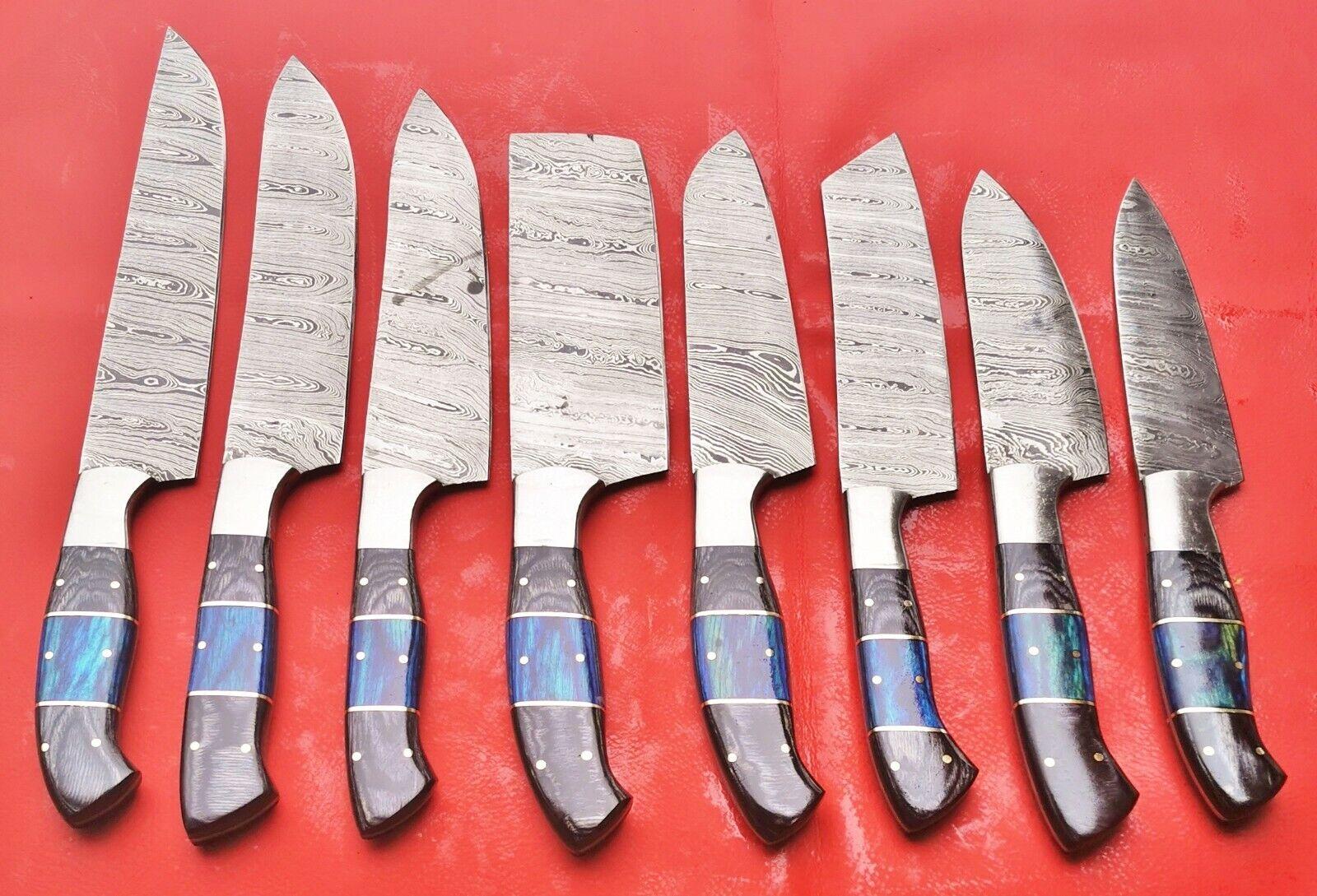Damascus Custom--Handmade 8 pcs Chef Knife Kitchen set — P