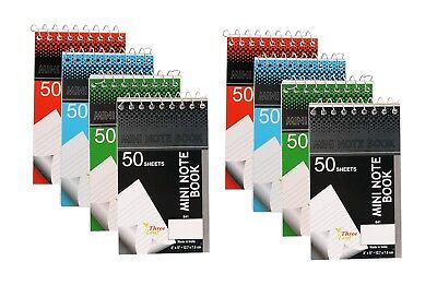 Eight Personal Mini Notebooks 3x5-inch College Ruled White 50 Pages Per