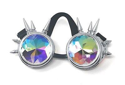 Steampunk Brillen Silber mit Kaleidoskop Gläser Stachel Cyber Vintage Brillen UK