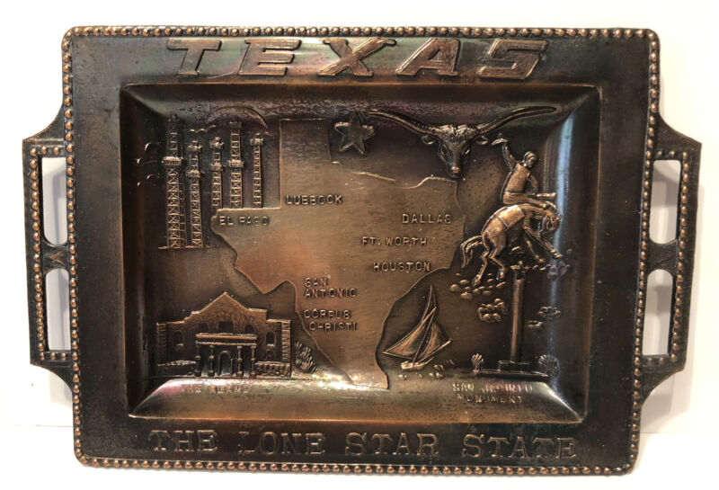 Vintage Copper Texas Souvenir Mini Tray - The Lone Star State