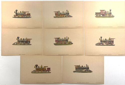 Vintage Set of 8 Color Prints of Early American Locomotives 1950 Autoprints NY