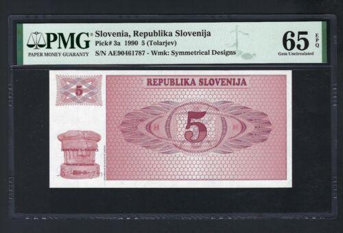 Slovenia 5 (Tolarjev) 1990 P3a  Uncirculated Graded 65