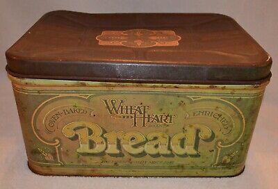 VINTAGE WHEAT HEART BREAD BOX TIN LARGE Large Heart Tin