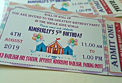CIRCUS THEMED PARTY TICKET INVITATIONS, BIG TOP, PERSONALISED PACK OF 10, FUN