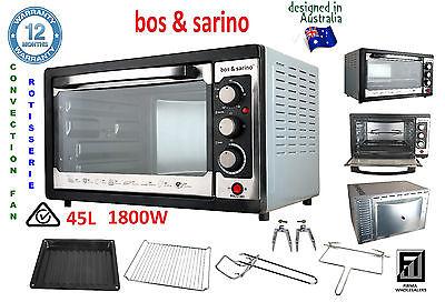 Portable Convection Ovens - Fan Forced Convection Rotisserie Family Oven 45L Suit Mobile Food Van Portable