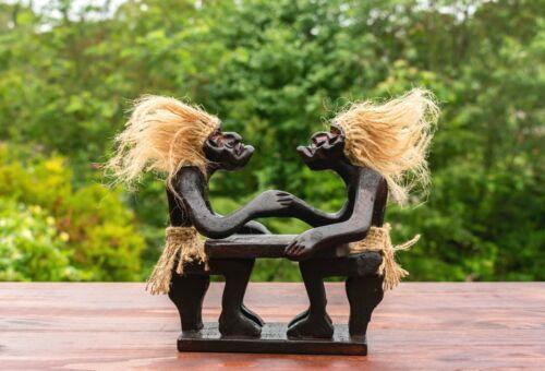 Primitive Tribal Statue Arm Wrestling Tiki Bar Wooden Hand Carved Gift Decor Art