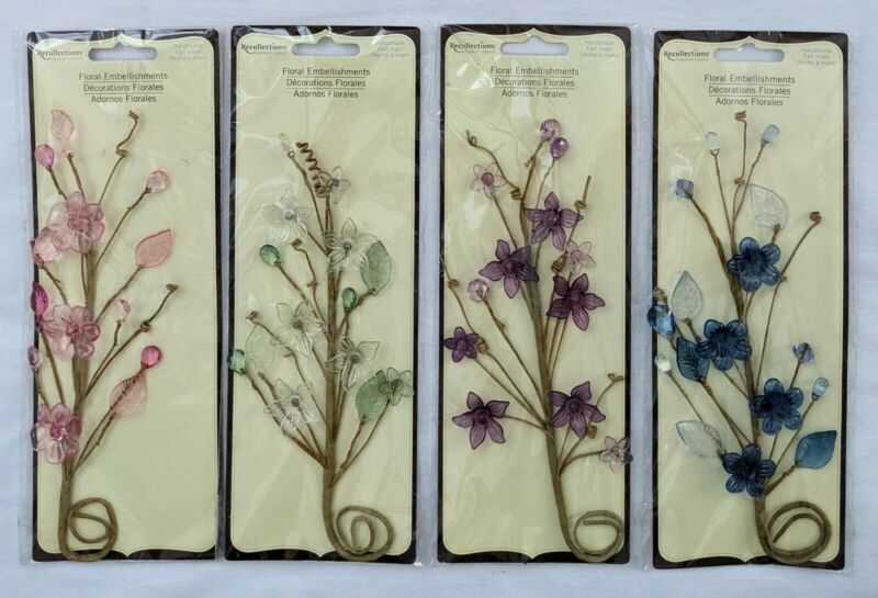 Flowers Floral Craft & Scrapbooking Embellishments by Recollections Lot of 4