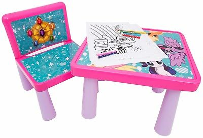 MY LITTLE PONY PLASTIC TABLE AND CHAIR COLOURING TABLE WITH SHEETS AND PENCILS