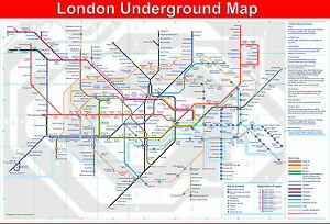 LAMINATED LONDON Underground / Tube journey planner map poster 15X22.5 inch