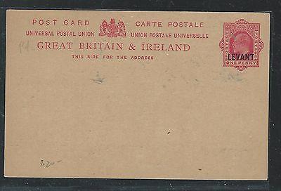 BRITISH LEVANT (P2307BB) KE 1D PSC OVPT ON GB CARD UNUSED