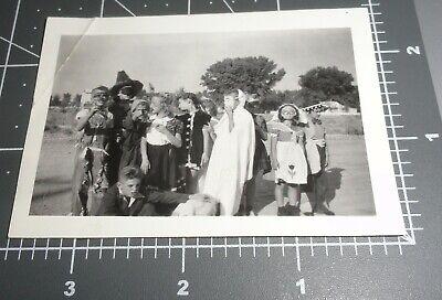 1940s HALLOWEEN Costume Mask Trick or Treat KIDS Boy Girl Vintage Snapshot PHOTO](1940 Costume)