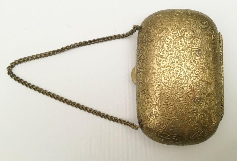 19C Brass Etui Purse with 3 ½' Brass Chain