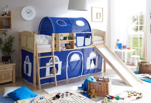 rutschbett hochbett mit rutsche spielbett kinderbett etagenbett natur blau wei - Hausgemachte Etagenbetten Mit Rutsche