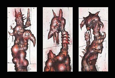 "JAMES HOCKRIDGE ""Twisted"" Gothic Triptic Dark Art - 3 Amazing Original Paintings"