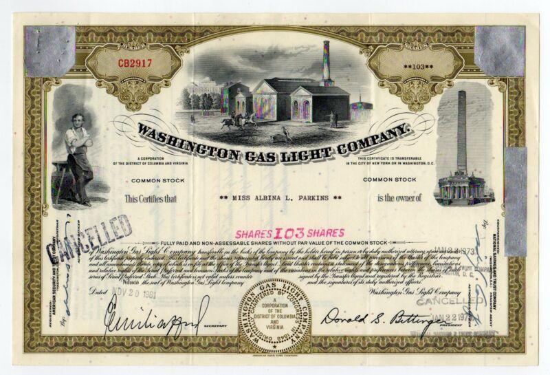 Washington Gas Light Co. Stock Certificate