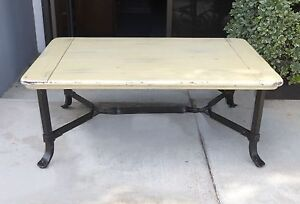 French Country White Coffee Table Wood Solid Wrought Iron Shabby Cottage Chic Ebay