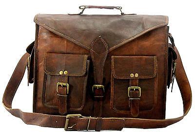 """15"""" distressed Real Handmade Leather messenger laptop computer case shoulder bag"""
