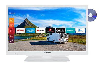 Telefunken 24 Zoll Fernseher HD Smart TV DVD Player 12V Prime Video Alexa WLAN
