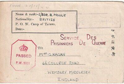 China  POW prisoner of war camp of Taiwan postcard censored to England 1944