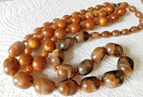 Multi Strand Necklace 2 Strand Marbled Amber & Brown Tones Plastic Lucite Mat