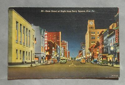 1945 State Street at Night from Perry Square Old Cars Bus Stores Signs Erie (Erie Pa Stores)